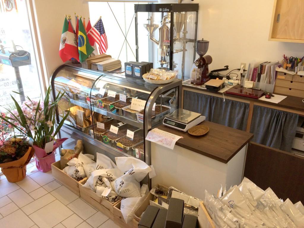コーヒー豆のショーケース