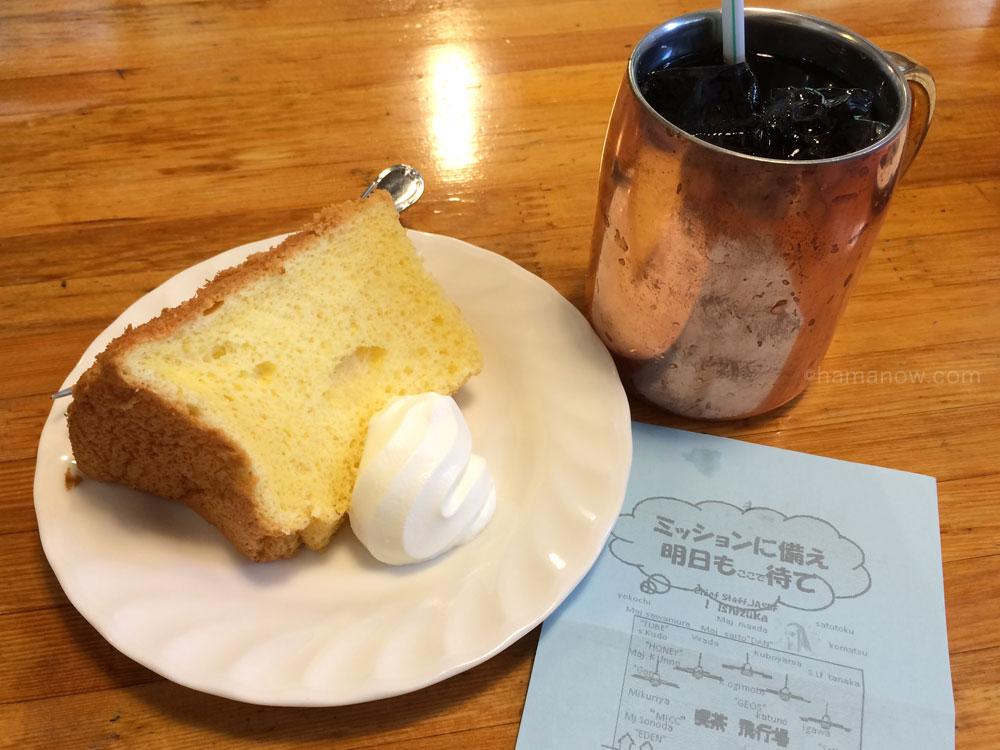 シフォンケーキセットとアイスコーヒー
