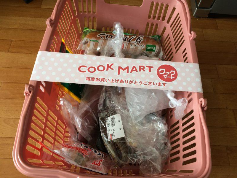 クックマート雄踏店で購入した、買い物かごに入った食材
